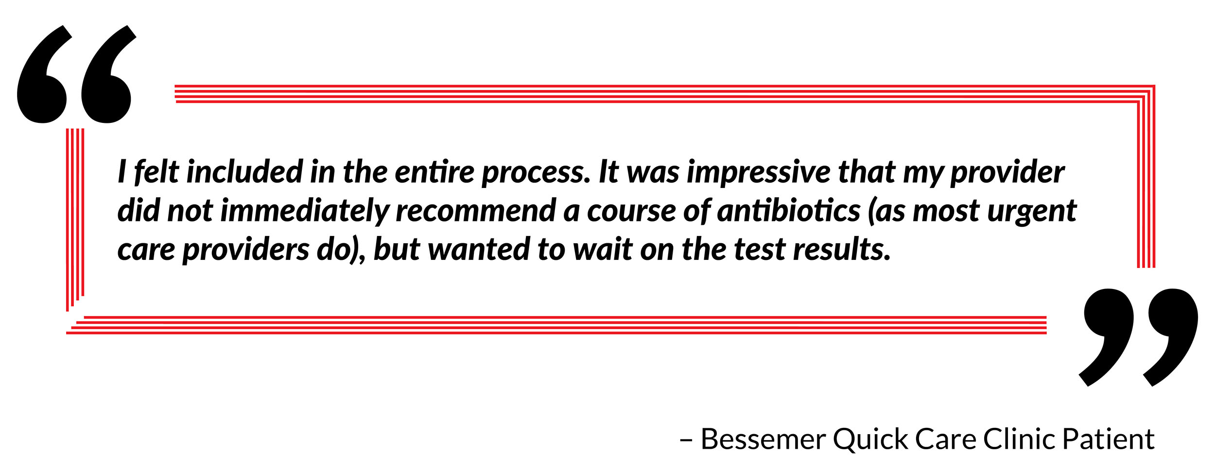 patient quote and testimonial on practice visit and services